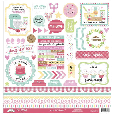 Doodlebug - Made with Love - This & That Cardstock Stickers