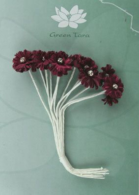 Green Tara - Diamante Silk Flowers  - Burgundy