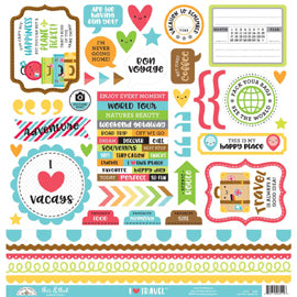 Doodlebug - I Heart Travel This & That Sticker Sheet 12x12