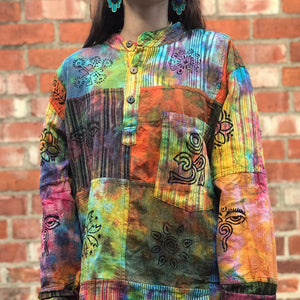 Rainbow Tie-Dye Blockprint Shirt