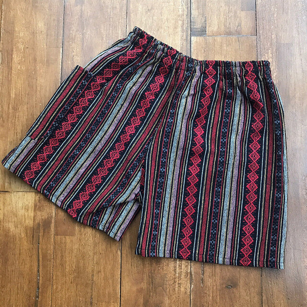 Red & Pink Thai Weave Shorts