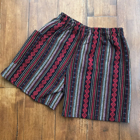 Red & Pink Thai Weave Shorts XL/XXL