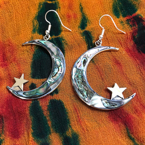 Large Moon & Star Earrings
