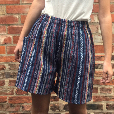Blue & White Thai Weave Shorts XL