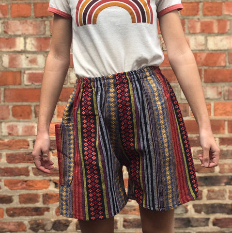 Red & Yellow Thai Weave Shorts