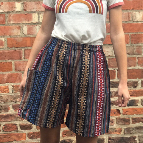 Brown & Blue Thai Weave Shorts