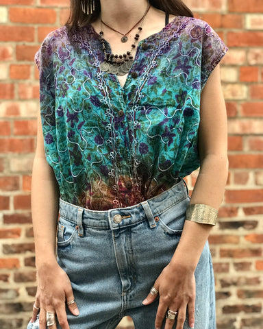 Purple & Blue Boho Embroidered Top
