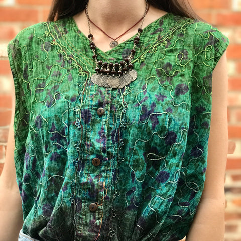 Green & Blue Boho Embroidered Top