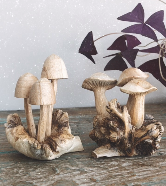 Carved Wooden Mushrooms Design 1