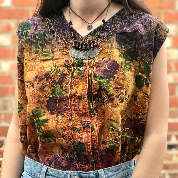 Purple & Yellow Boho Embroidered Top