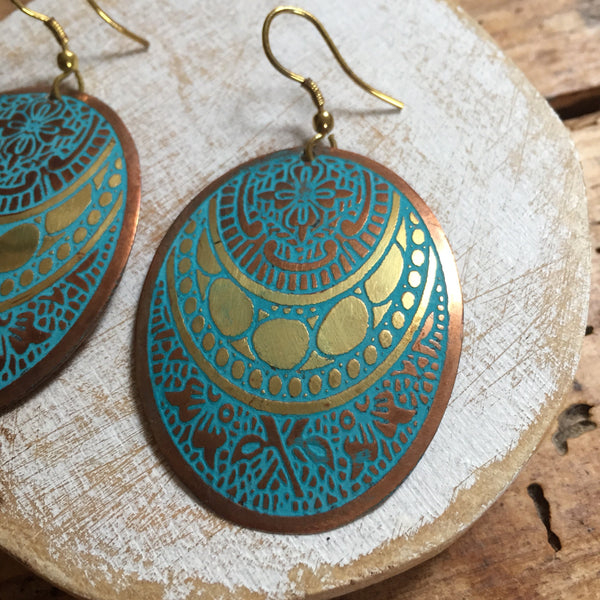 Blue & Gold Oval Earrings