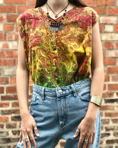Yellow & Green Boho Embroidered Top