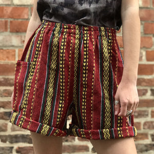 Red & Yellow Thai Weave Shorts S/M