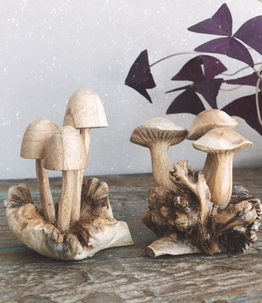 Carved Wooden Mushrooms Design 2