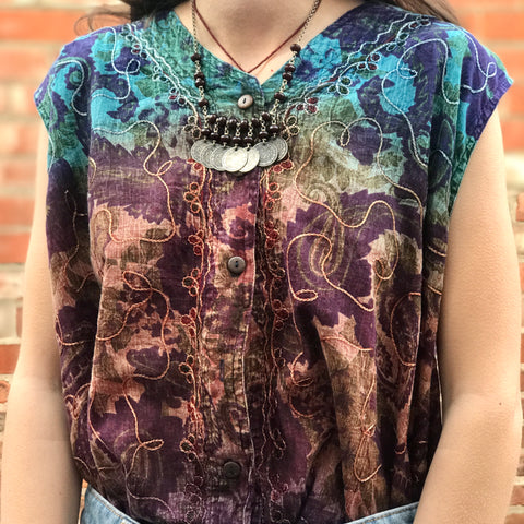 Blue & Purple Boho Embroidered Top