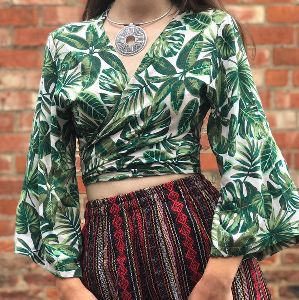 Light Jungle Print Wrap Top