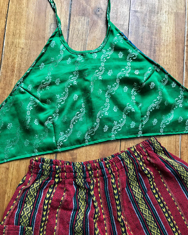 Green Halter Crop Top