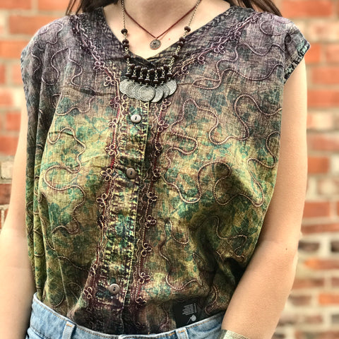 Dark Green & Earthy Boho Embroidered Top