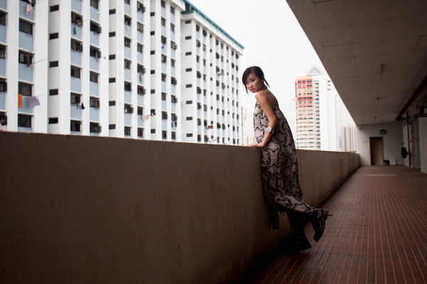 Uli wearing Optical Illusion Maxi Dress.