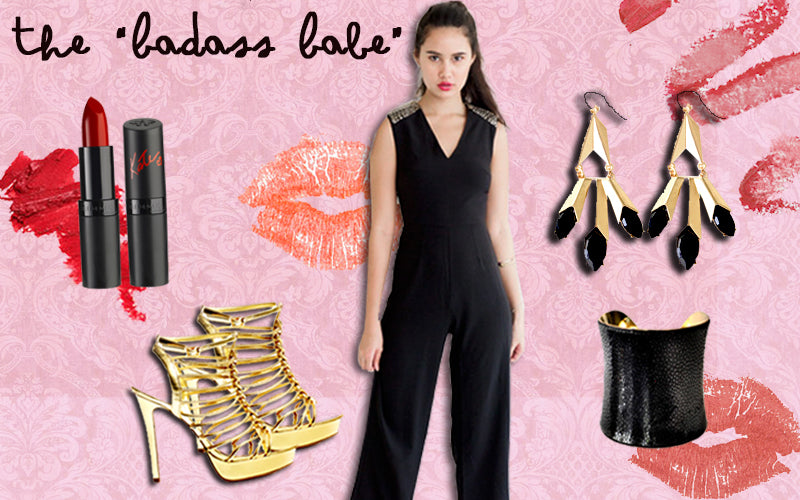 Black Studded Jumpsuit for Clubbing