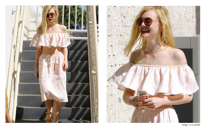 elle fanning in two piece set