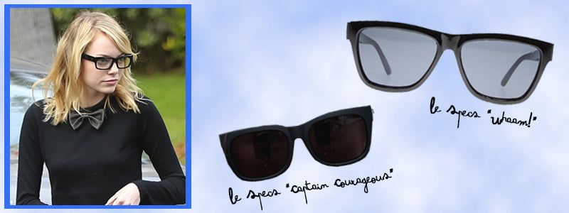 Emma Stone wearing rectangle sunglasses