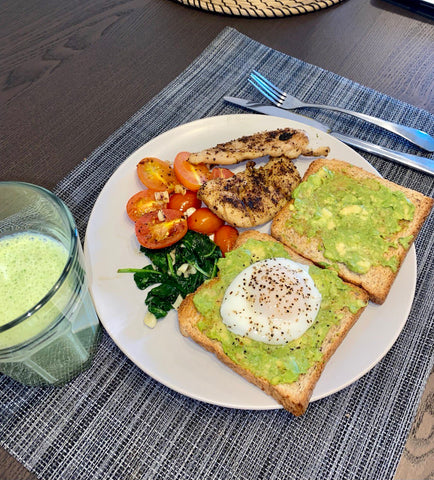 Healthy Meal Avocado Toast with Poached Eggs