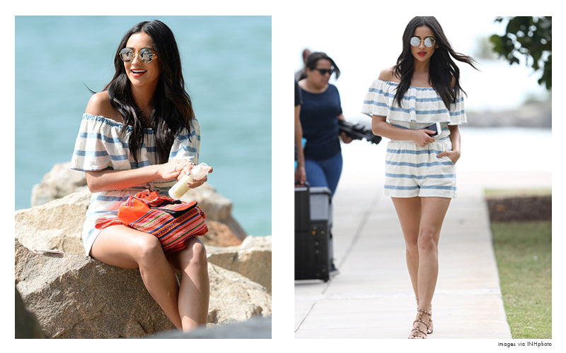 shay mitchell in off shoulder romper