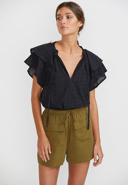 Staple the label frill blouse