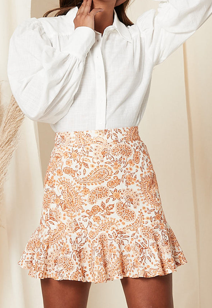 a line skirt with ruffled hem