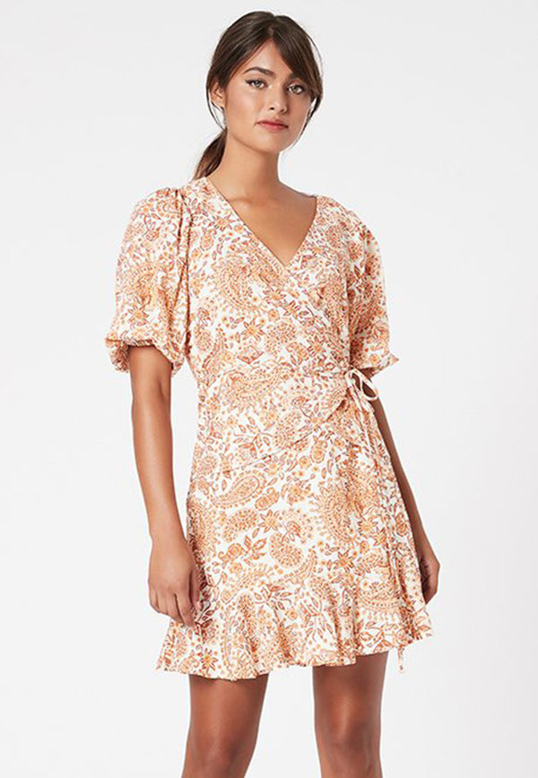 MINKPINK gold paisley wrap top