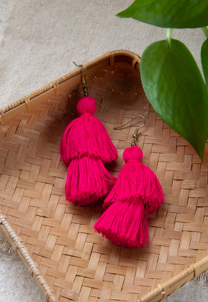 Just Gaya's 2 Tier Tassel Earrings - Solid Colours