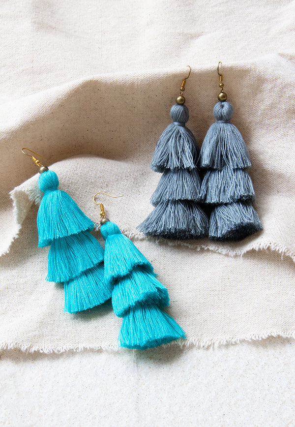 Just Gaya's 3 Tier Tassel Earrings - Solid Colour