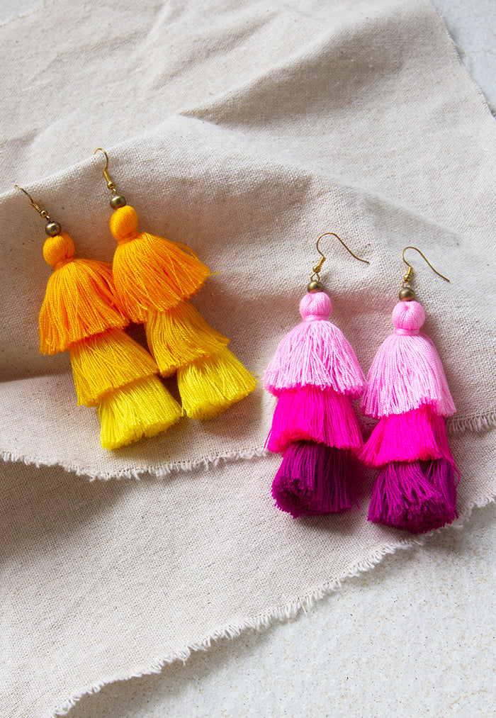 Just Gaya's 3 Tier Tassel Earrings - Mutlicolour