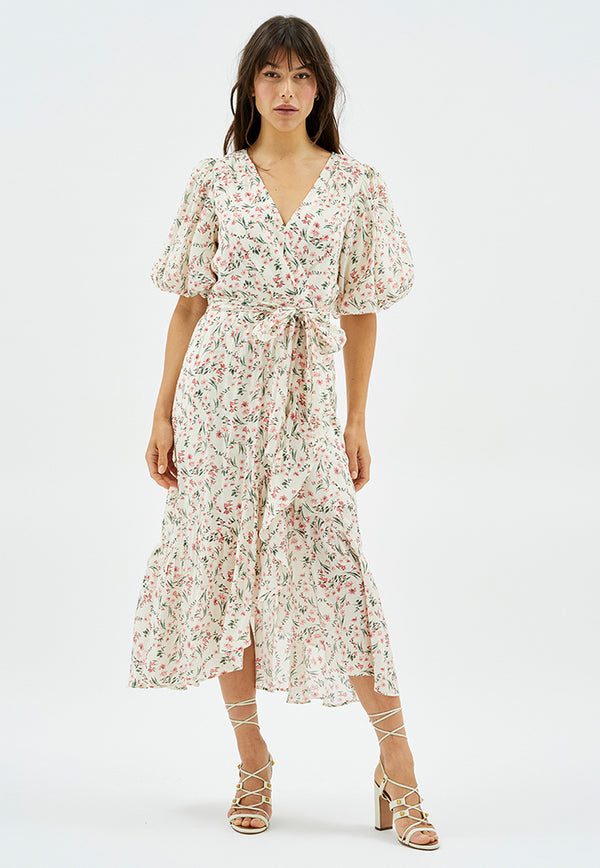 MINKPINK Penne Puff Sleeve Maxi Dress