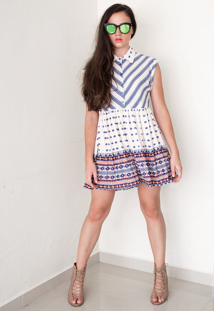 preppy chevron print shirt dress