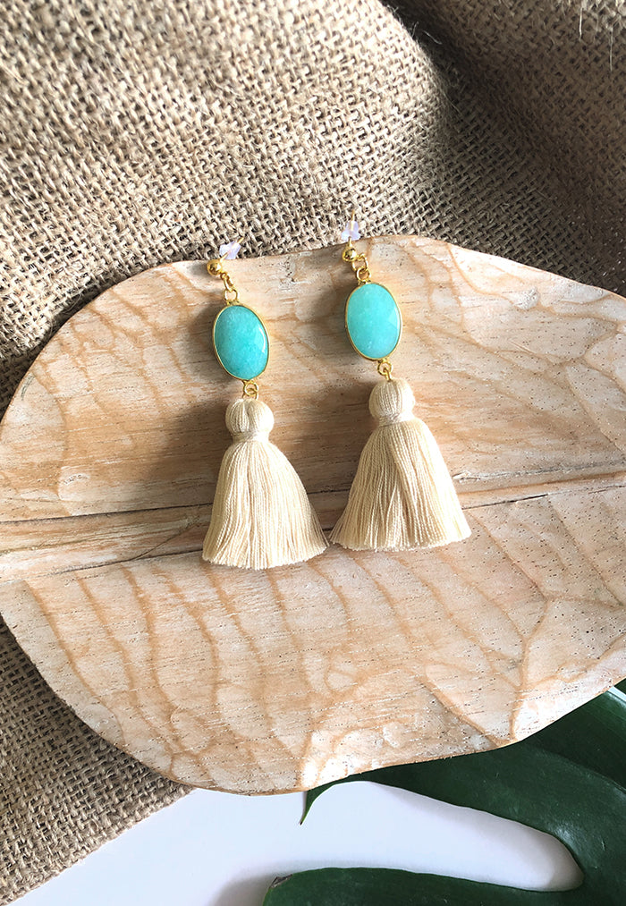 Just Gaya's Single Stone Tassel Earrings
