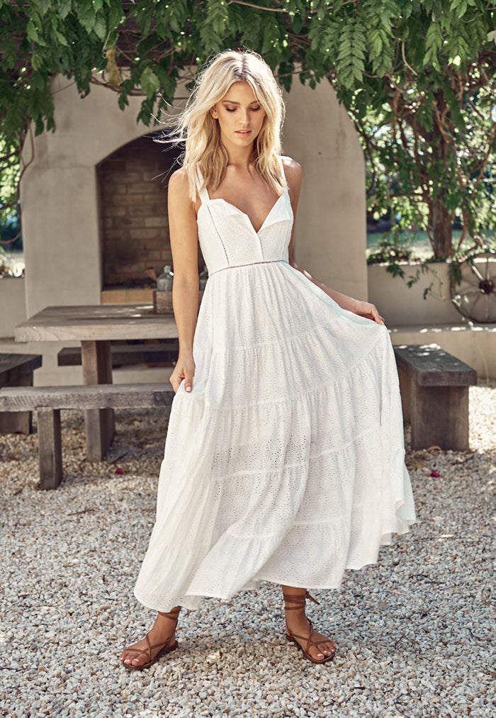 Bea White Broderie Anglaise Maxi Dress