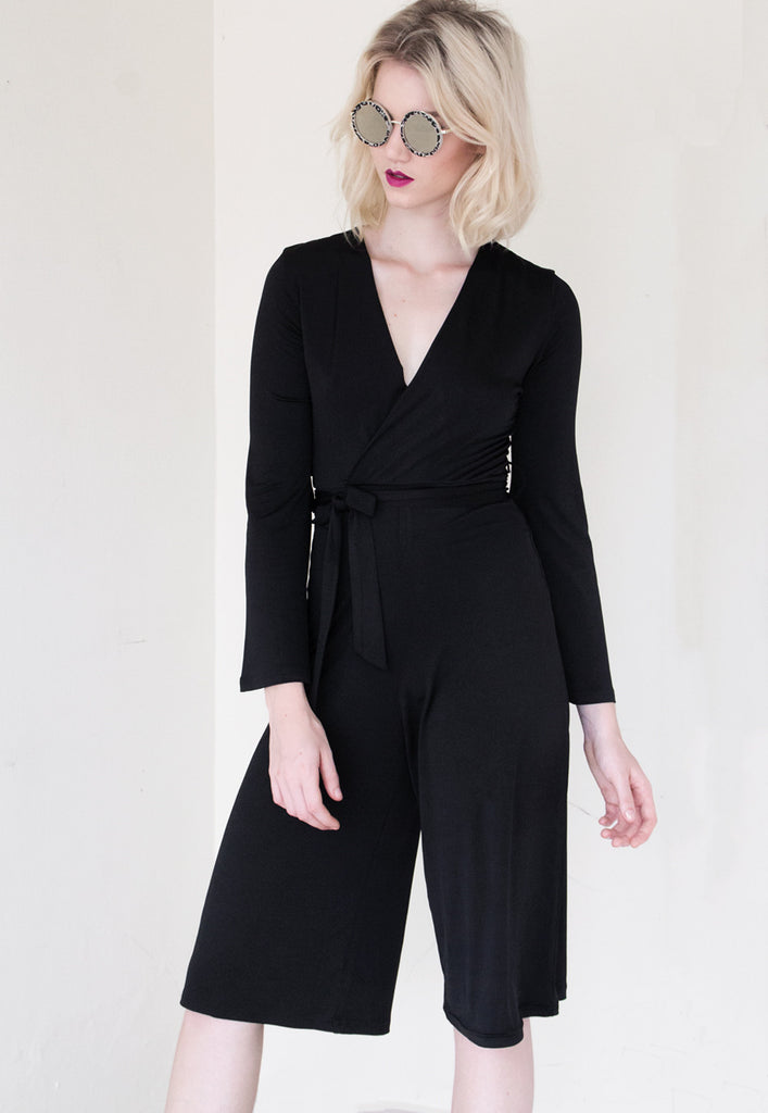 black bell sleeve jumpsuit
