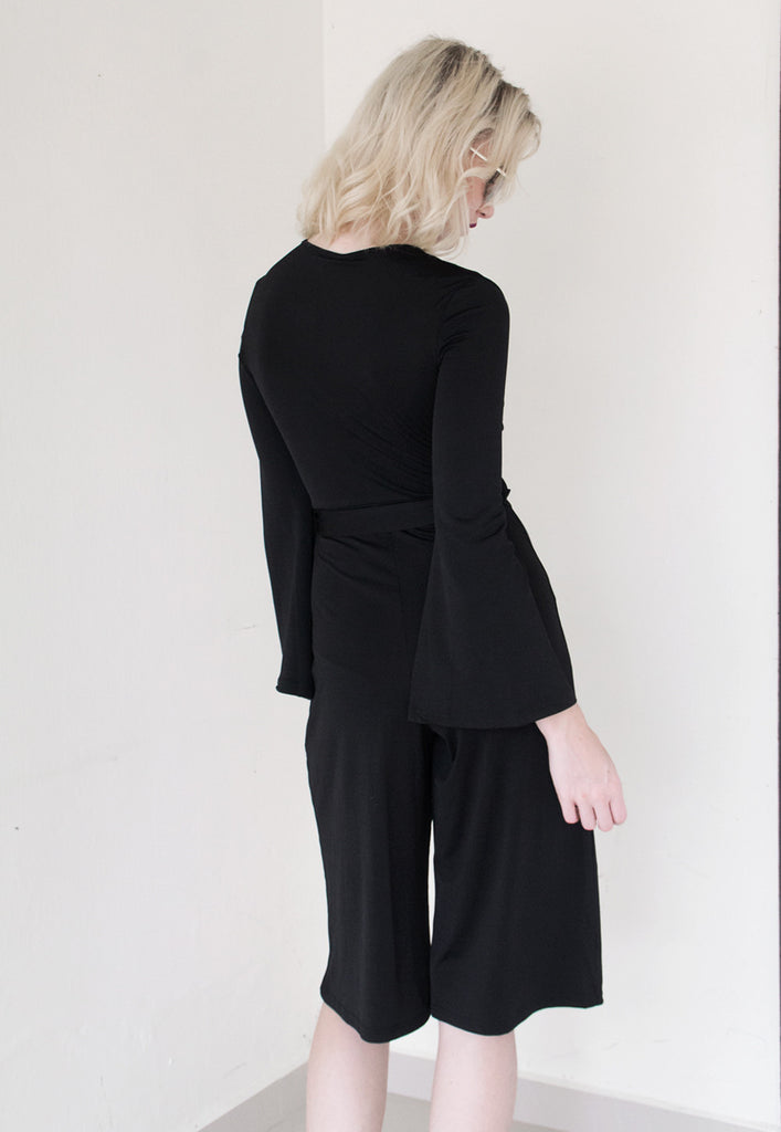 culotte jumpsuit in black