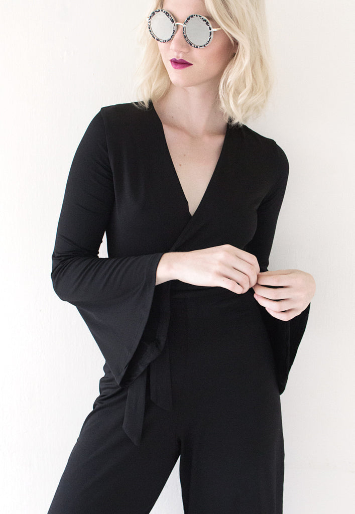 black flared sleeve jumpsuit