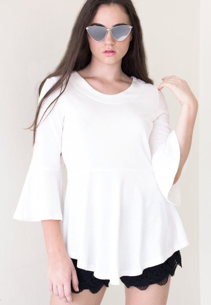 Paige Bell Sleeve Peplum Top - White