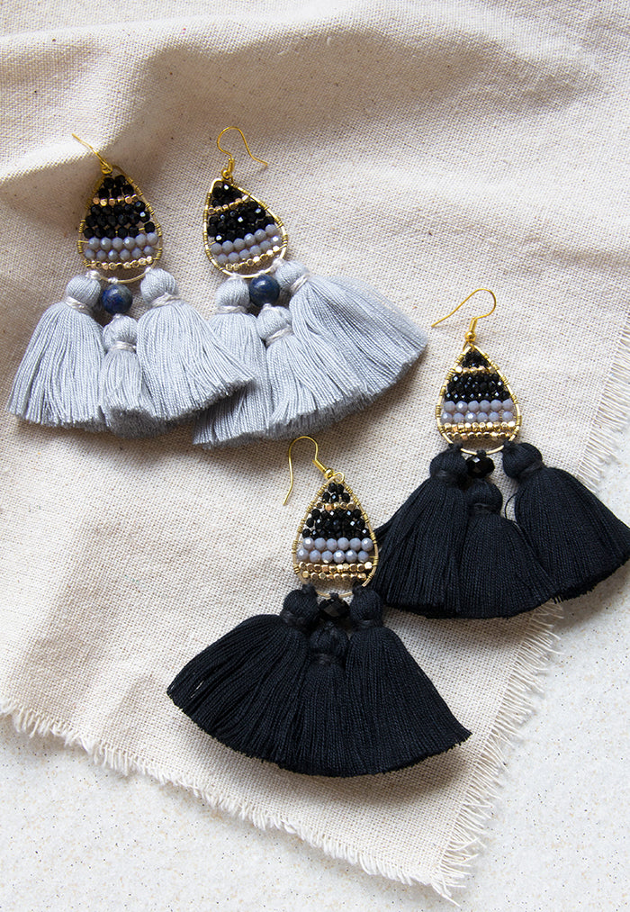 Just Gaya's Teardrop Triple Tassel Earrings