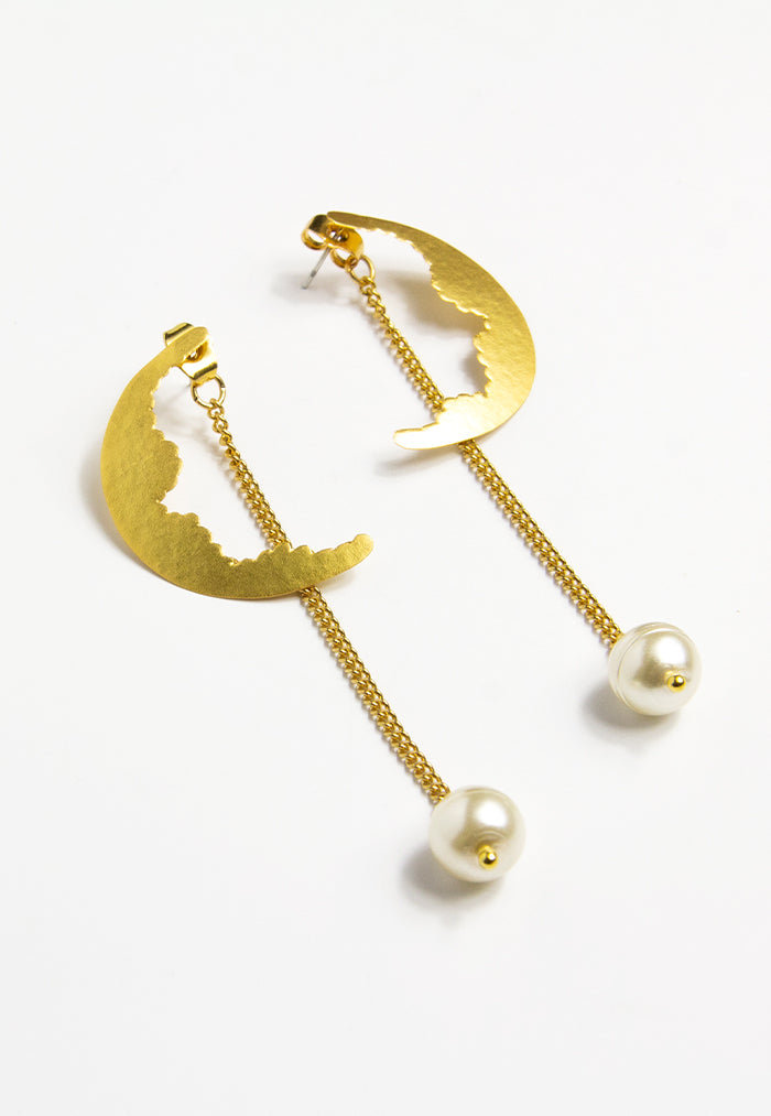 Embrace Jewellery Crescent Hanging Pearl Earrings