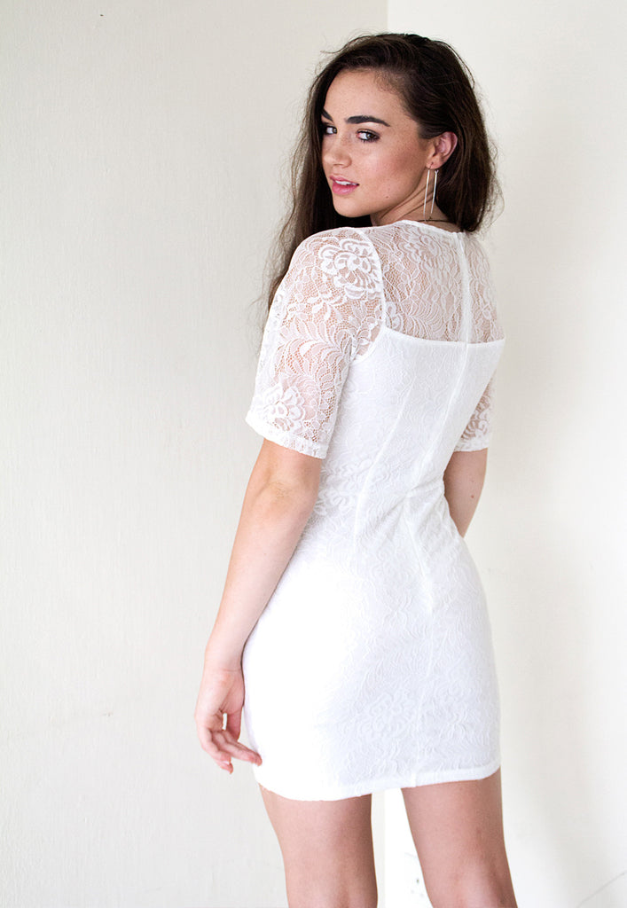 flared sleeve lace bodycon dress