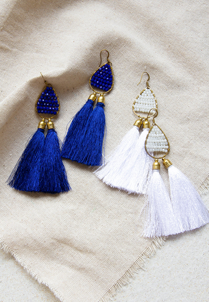 Just Gaya's Double Tassel Drop Earrings