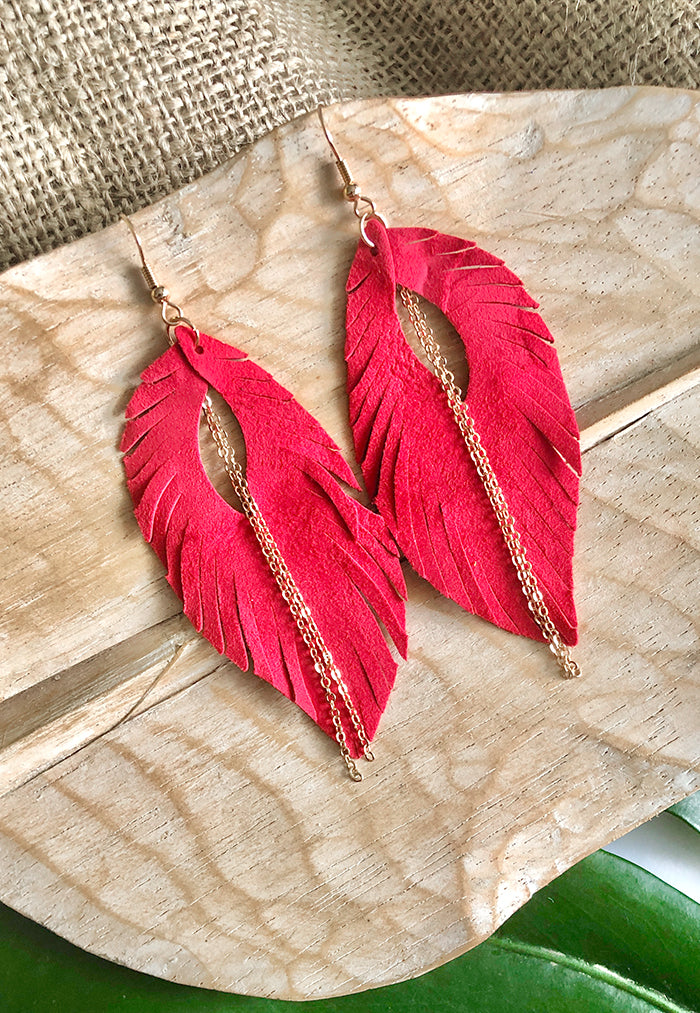 Just Gaya's Leather Feather Earrings