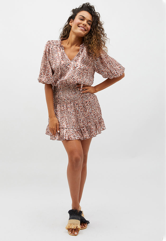 MINKPINK Harlee Shirred Mini Dress
