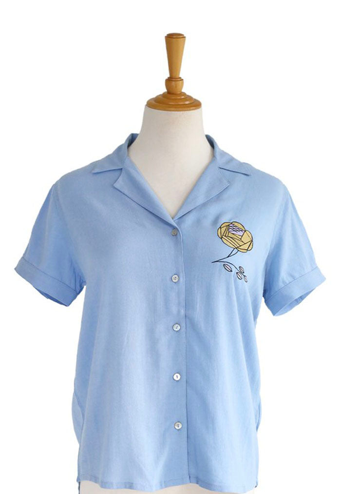 Nala Embroidered Ladies Shirt -Blue