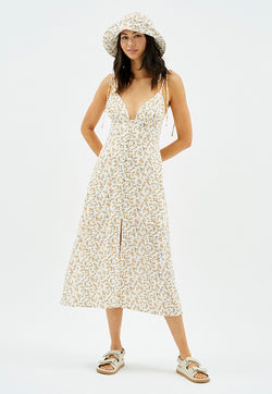 MINKPINK Lizzy Tie Button Midi Dress